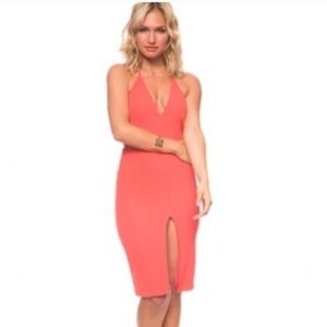 Rosie coral midi halter dress